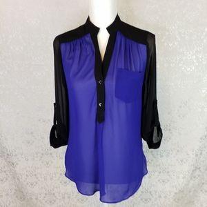 IZ Byer cobalt blue and black sheer v neck top S